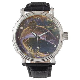 Vintages Sport-Forelle-Fisch-Fischen, Freigabe des Uhr