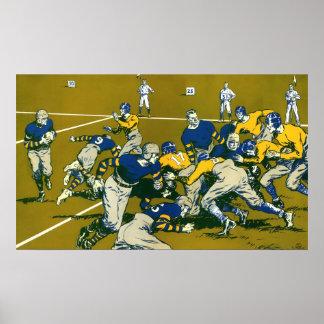 Vintages Sport-Fußball-Spiel, blau gegen Goldteams Poster