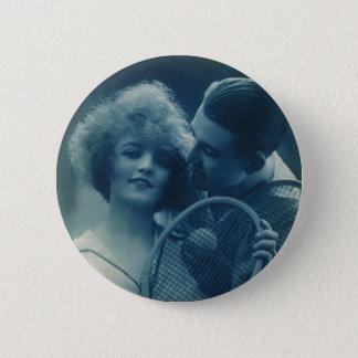Vintages Sport Tennis, Liebe und Romance Runder Button 5,7 Cm