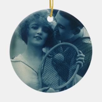 Vintages Sport Tennis, Liebe und Romance Rundes Keramik Ornament