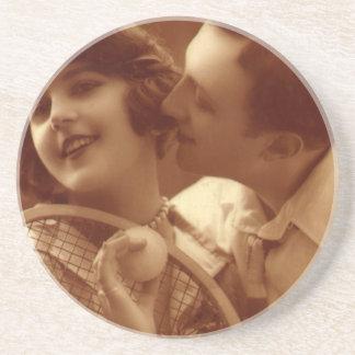 Vintages Sport Tennis, Liebe und Romance Untersetzer
