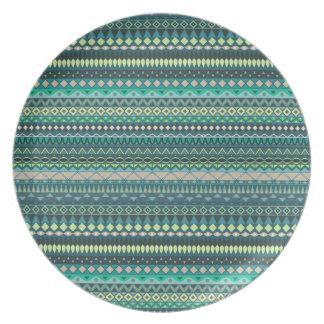 Vintages Stammes- aztekisches Muster Melaminteller