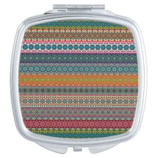 Vintages Stammes- aztekisches Muster Taschenspiegel