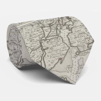 Vintages Staten Island u. NYC Hafen-Karte (1733) Bedruckte Krawatten
