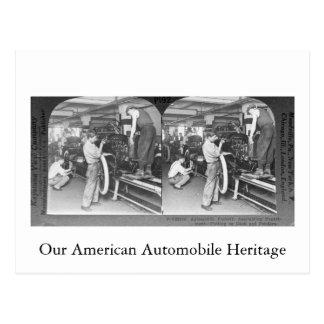 Vintages Stereoview unser Automobil-Erbe Postkarte