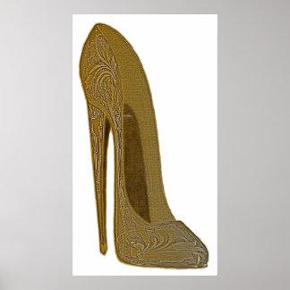 Vintages Stilett-Schuh-Kunst-Plakat