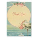 Vintages Storch-Baby-Mädchen in der rosa Decke, Karten