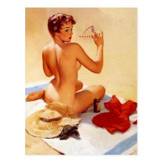 Vintages Strand-Schönheits-Button herauf Mädchen Postkarte
