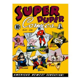 Vintages Superheld-Comic Postkarte