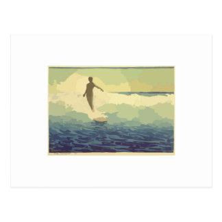 Vintages Surfen Postkarte