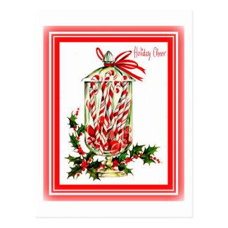 Vintages süßes Leckerei-Zuckerstange-Glas Postkarte