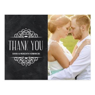 Vintages Tafel-Foto danken Ihnen Postkarte