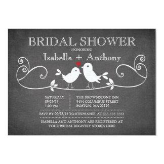Vintages Tafel-Liebe-Vogel-Brautparty 11,4 X 15,9 Cm Einladungskarte