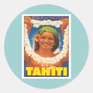 Vintages Tahiti Runder Aufkleber