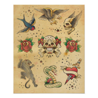 Vintages Tätowierungs-Blitz-Plakat Poster
