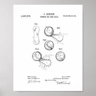 Vintages Tennis-Ball-Patent-Plakat, ursprünglicher Poster