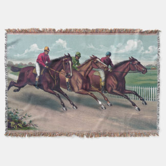 Vintages Thoroughbred Rennpferd- und jockieslaufen Decke
