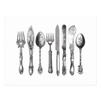 Vintages Tischbesteck-Schwarz-weiße Postkarte