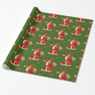 Vintages tragendes Laternengrün Weihnachtsmanns Geschenkpapier