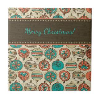 Vintages Türkis-rotes beige Weihnachtshängender Keramikfliese