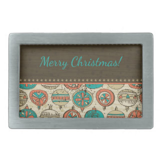 Vintages Türkis-rotes beige Weihnachtshängender Rechteckige Gürtelschnallen