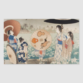 Vintages ukiyo-e japanische Damen mit Rechteckiger Aufkleber