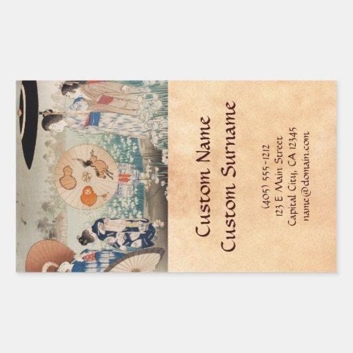 Vintages ukiyo-e japanische Damen mit Regenschirmk Rechtecksticker