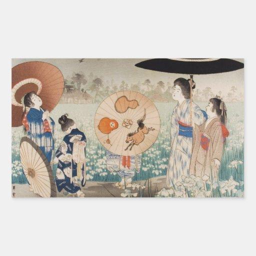 Vintages ukiyo-e japanische Damen mit Regenschirmk Rechrteckaufkleber