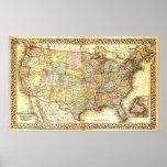 Vintages USA-Karten-Plakat Poster