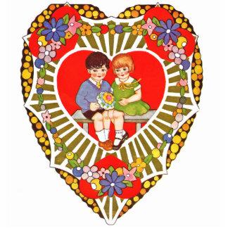 Vintages Valentine-Button Fotoskulptur Button