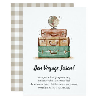 Vintages Valise |, das weg Party Einladung geht