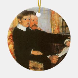 Vintages Vater-und Sohn-Porträt durch Mary Cassatt Keramik Ornament