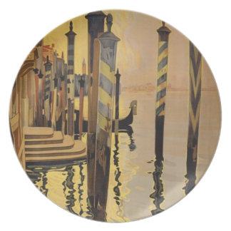 Vintages Venedig-Reise-Plakat Flacher Teller