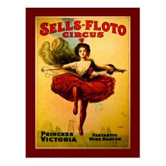 Vintages Verkäufe-Floto Zirkus-Plakat Postkarte