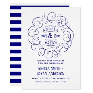 Vintages verziertes Marineblau Save the Date Karte
