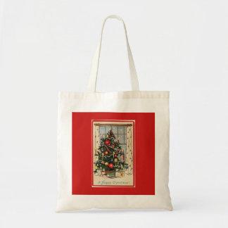 Vintages verziertes Weihnachtsbaum-Rot Tragetasche