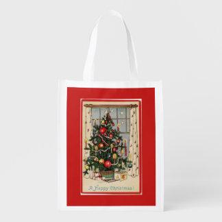 Vintages verziertes Weihnachtsbaum-Rot Wiederverwendbare Einkaufstasche