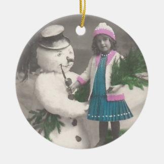 Vintages Verzierung-Vintages Mädchen mit Snowman Weihnachtsbaum Ornament