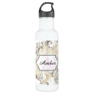 Vintages viktorianisches beige Blumenrebemuster Trinkflasche