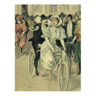 Vintages viktorianisches Braut und Bräutigam Postkarte