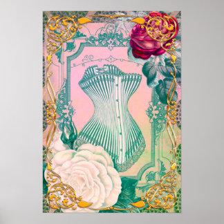 Vintages viktorianisches Korsett und Rosen Rosa Poster