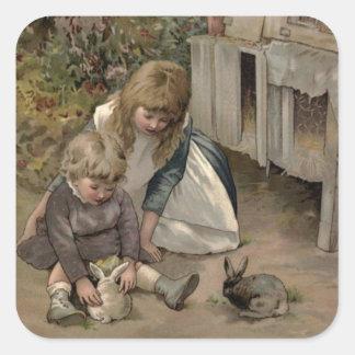 Vintages viktorianisches u. niedlich: Kinder u. Quadratischer Aufkleber