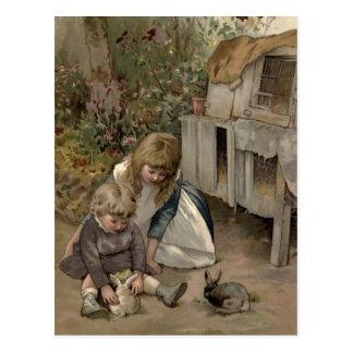 Vintages viktorianisches u. niedlich: Kinder u. Postkarte