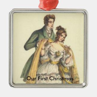 Vintages viktorianisches unsere erste Chrismas Silbernes Ornament