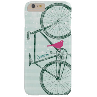 Vintages Vogel-Smaragdgrün-Fahrrad-Muster Barely There iPhone 6 Plus Hülle