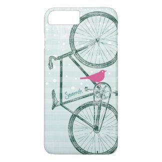 Vintages Vogel-Smaragdgrün-Fahrrad-Muster iPhone 8 Plus/7 Plus Hülle