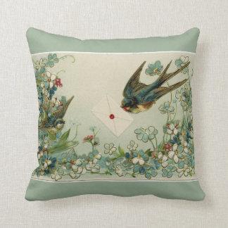 Vintages Vogel-und Blumen-umschaltbares Kissen