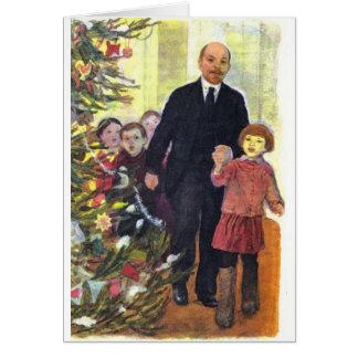 Vintages Watercolor-Weihnachten mit Lenin Karte