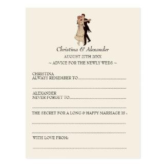 Vintages Wedding frei hinzugefügtes Karten-Ratezwa Postkarten