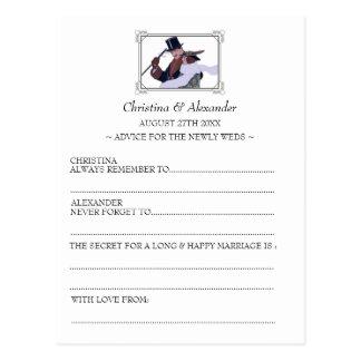 Vintages Wedding frei hinzugefügtes Karten-Ratezwa Postkarte